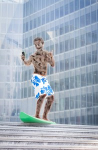 Zombie Surfer in a City on a Smart Phone
