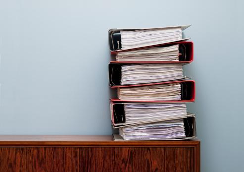stacks of data binders