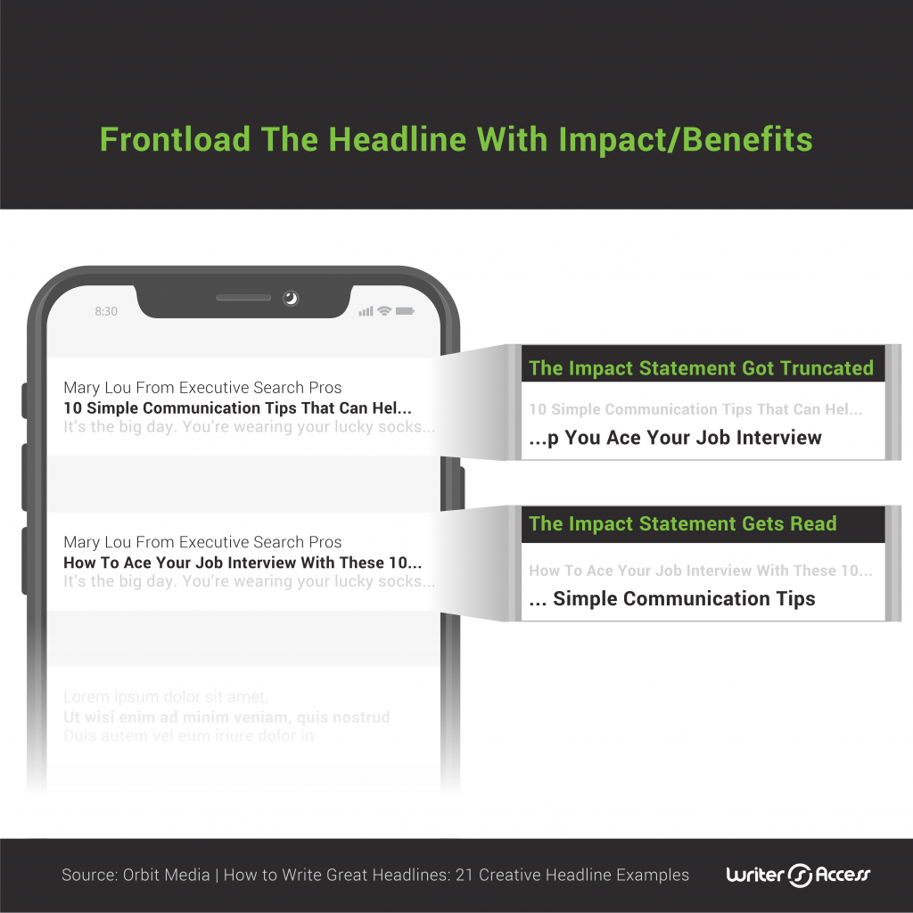 How to front load headlines with benefits in email content creation with marketing