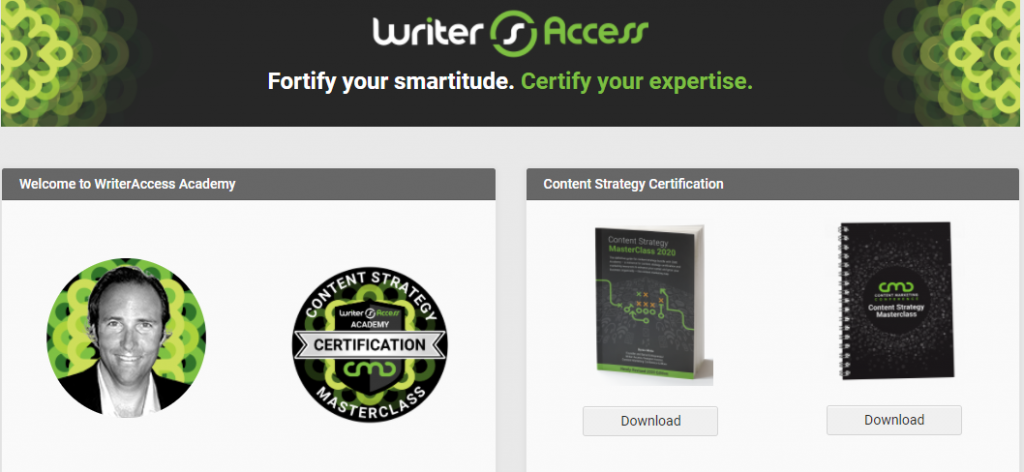 The home page of WriterAccess Academy featuring the badge and Byron White.
