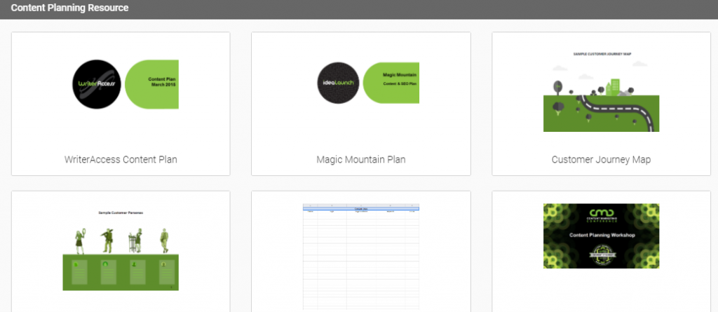 A screenshot of the resources in the academy, including a content plan and journey map.