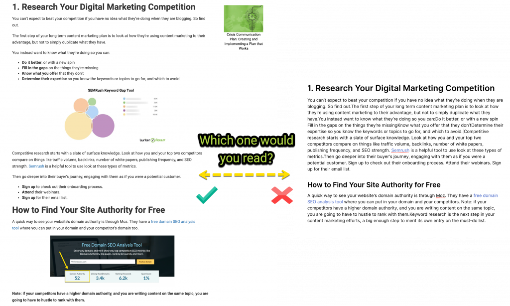 How format impact reading on content creation for marketing
